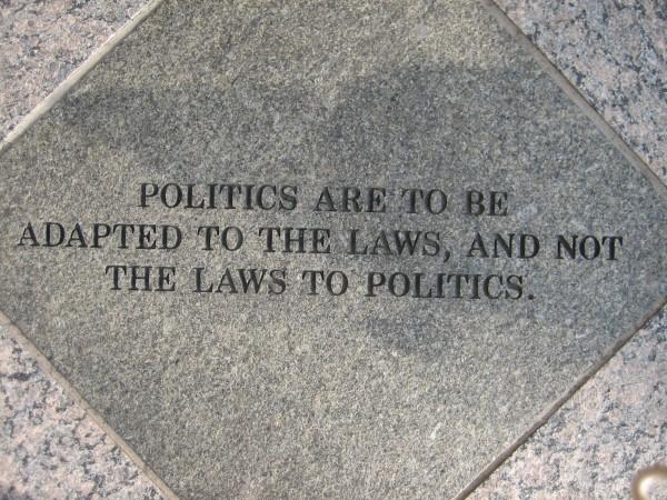 """Text in Stone,"" Jenny Holzer, granite, U.S. Federal Courthouse, Sacramento, CA."