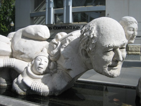"""Time to Castaway Stones,"" Stephen Kaltenbach, cast cement and stone, Sacramento Convention Center, 1999."