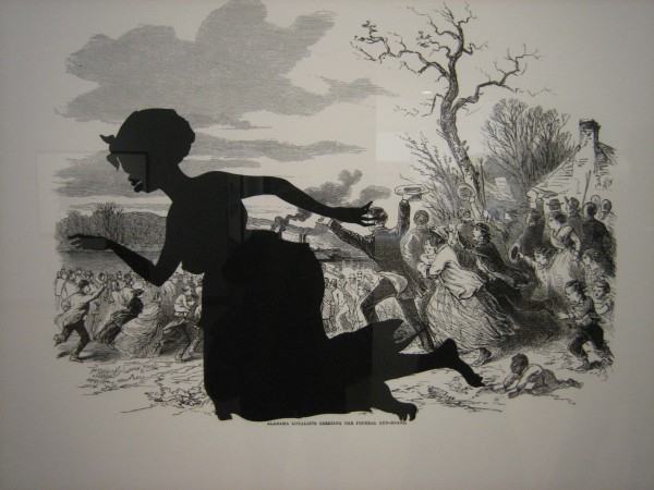 "Kara Walker, ""Harper's Pictorial History of the Civil War (Annotated): Alabama Loyalists Greeting the Federal Gun Boats,"" offset lithography and screenprint on paper, 2005."