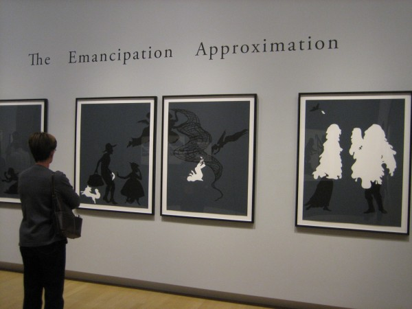 "Kara Walker, ""The Emancipation Approximation,"" screenprints on paper, 1999-2000.  According to the Crocker, ""In this grand cycle, 26 prints read from left to right."""