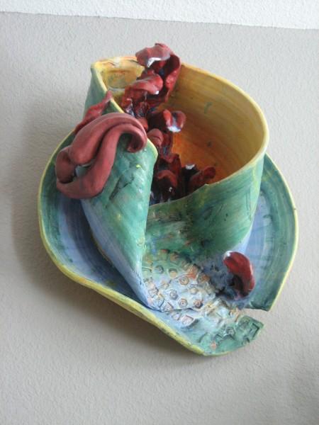 Linda Fitz Gibbon, Speak No Evil, Cup Runneth Over, Clay, 2001.