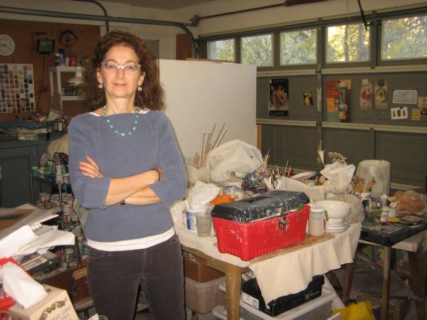 Linda Fitz Gibbon in her ceramic studio, Davis, CA, 2014.