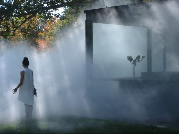 Glass House Shrouded in Fog, Art Installation by