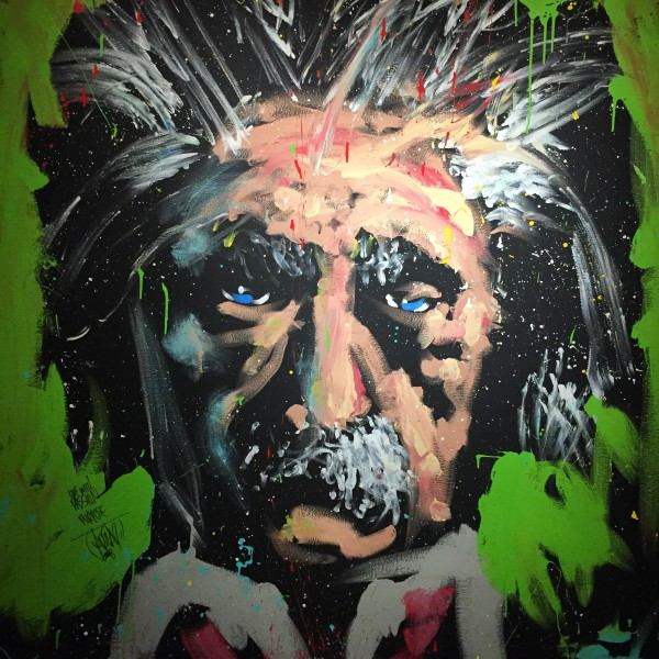 "Einstein/Rhythm and Hue. David Garibaldi. Paint on canvas, 57"" x 69,"" 2008. University Union Gallery."
