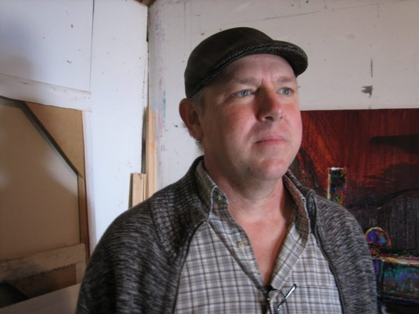 Artist Jeff Myers in his Sacramento, CA studio, August, 2016.