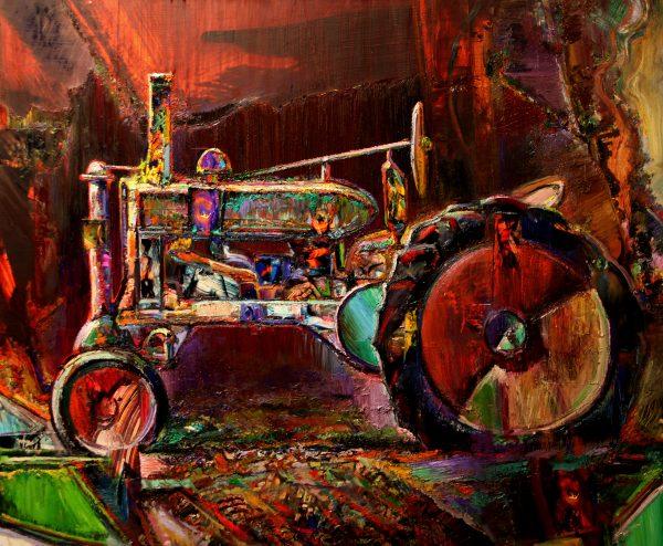 """Tractor Amalgam,"" by Jeff Myers, Oil, Graphite, Acrylic, C-Print type Paper, 60"" x 72"", 2015-16."